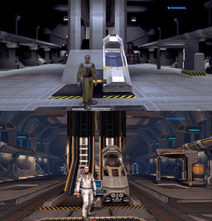 Halo: Combat Evolved Anniversary - By using the Back button, players can switch between the original game's graphics (top) and new graphics (bottom).