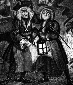 Thomas de Veil - Sir Thomas de Veil (left) in masonic clothing, as depicted by William Hogarth in Night, part of his series of engraving Four Times of the Day.