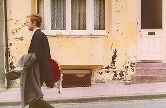 The Chefs - James McCallum, Chefs guitarist, setting off from his house for a band rehearsal in Brighton, May 1980