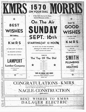 KMRS - Image: KMRS advertisement (September 1956)