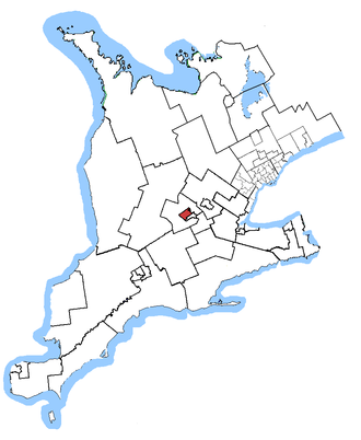 Kitchener—Waterloo (provincial electoral district) - Kitchener—Waterloo in relation to southern Ontario ridings