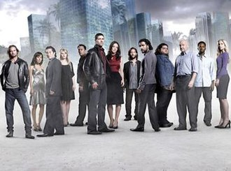 Lost (season 4) - From left to right: Sawyer, Sun, Jin, Claire, Ben, Jack, Kate, Desmond, Sayid, Hurley, Locke, Michael, and Juliet