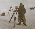 Georges Lecointe taking magnetic observations on the sea ice