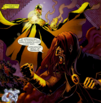 Nabu confronts Mordru without the use of a host body in a panel from JSA #80. Art by Don Kramer.