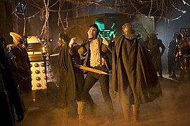 Auton legionaries leading the Doctor towards the Pandorica, as well as representatives of the Daleks, the Hoix, the Cybermen and the Judoon participating in the alliance's plan to imprison the Doctor.