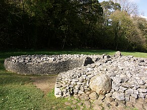 A short dry-stone wall retains boulders to form a cairn. The wall is missing at the front, right section, where the rubble has tumbled out, leaving a (previously covered) orthostat exposed. The wall forms a courtyard at the tumulus' entrance. Flat ground of short grass surrounds the cairn. The background is of shaded trees, mainly in leaf.