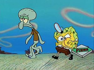 Pizza Delivery (SpongeBob SquarePants) - Squidward (left) and SpongeBob (right) deliver the pizza on foot in the middle of a desert after losing their boatmobile.
