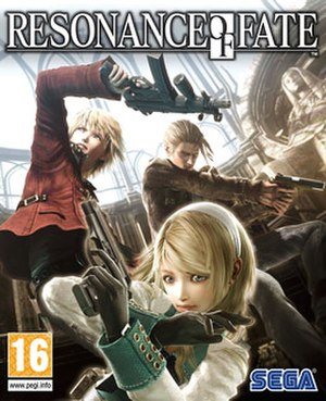 Resonance of Fate - European cover art, showing main protagonists Zephyr (left), Leanne (center) and Vashyron (back)