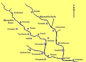Rhondda - A rough layout of the main villages of the Rhondda shown along the two tributaries of the River Rhondda