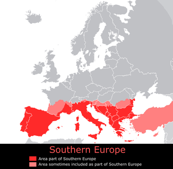 Southern Europe, core countries and regions so...