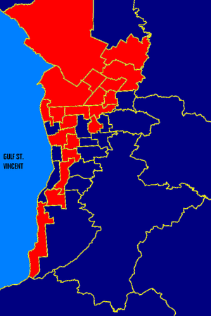 South Australian state election, 1997 - Metro SA: ALP in red, Liberal in blue. These boundaries are based on the 2006 electoral redistribution.