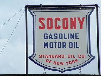 Mobil - Socony advertising sign at a theme park in Lincoln, New Hampshire