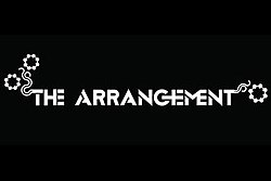"Black square with the words ""The Arrangement"" in white lettering with floral patterns coming out of the first letter of ""the"" and last letter of ""arrangement"""