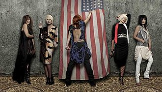 """American Doll Posse - Artwork in the album booklet depicts Amos as all five of the titular """"dolls"""". From left: Clyde, Isabel, Tori, Santa, Pip."""