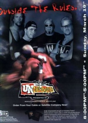 WCW Uncensored - Promotional poster featuring Kevin Nash, Bret Hart, Scott Steiner and Jeff Jarrett