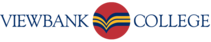 The logo of Viewbank College, a V.