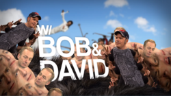 A psychedelic image of Bob and David's bodies repeated and distorted like a fractal or centipede