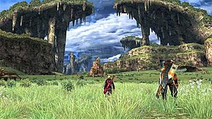 Xenoblade Chronicles - Shulk (middle) and Reyn on the Bionis' Leg. Xenoblade Chronicles features large, expansive environments that afford the player a high degree of freedom to explore.