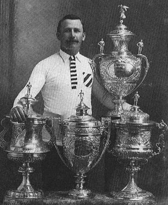 "Hunslet F.C. (1883) - Albert Goldthorpe of Hunslet with ""All Four Cups"" in 1908"