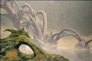 Roger Dean (artist) - Arches Mist, 1996. Another characteristic image, a moody landscape, with both fantastic and natural features.