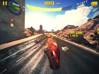 Asphalt 8: Airborne - Besides the use of stunt jumps as a central gameplay mechanic, Asphalt 8 also makes extensive use of simulated HDR rendering and pixel shaders, as seen on the sky and specular reflections on the road surface.
