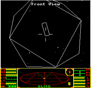 Open world - The BBC Micro version of Elite, a pioneering open-world game. This screenshot depicts the player's ship approaching a Coriolis space station