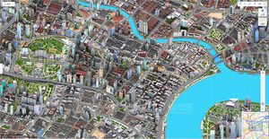Baidu map for Shanghai, China, using the Sim City style.png