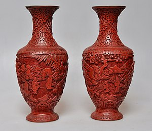 Cinnabar - Chinese carved cinnabar lacquerware, late Qing dynasty. Adilnor Collection, Sweden.