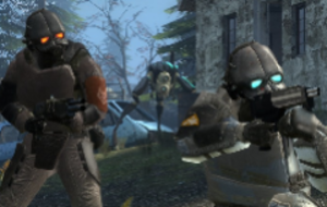 Combine (Half-Life) - Two Overwatch soldiers in Episode Two, with a Hunter in the background.