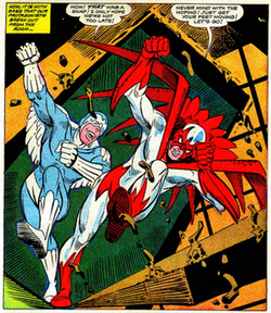 Hawk and Dove breaking through a ceiling