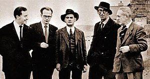 1954 in Ireland -  Firstbloom: John Ryan, Anthony Cronin, Brian O'Nolan, Patrick Kavanagh and Tom Joyce (James Joyce's cousin), Sandymount, 1954