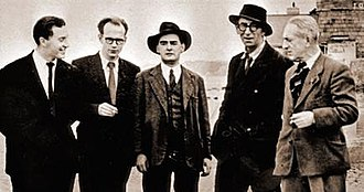 Bloomsday -  Firstbloom: John Ryan, Anthony Cronin, Brian O'Nolan, Patrick Kavanagh and Tom Joyce (James Joyce's cousin); Sandymount, 1954