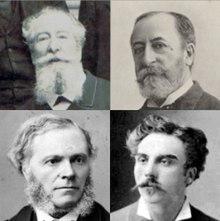 Photographies de quatre hommes blancs, tous avec différents degrés de pilosité faciale, vêtus de vêtements de jour du XIXe siècle