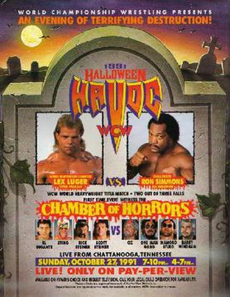 Halloween Havoc (1991) - Promotional poster featuring Lex Luger, Ron Simmons, El Gigante, Sting, Rick Steiner, Scott Steiner, Oz, One Man Gang, The Diamond Studd and Barry Windham