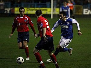Stalybridge Celtic F.C. - Stalybridge (in blue) play local rivals Hyde in 2012