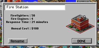 SimCity 2000 - Typical Infobox showing information about a selected element