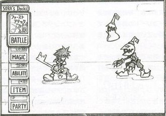 Kingdom Hearts: Chain of Memories - Early concept art of the card-based battle system