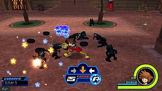 Kingdom Hearts Coded - Sora fighting Heartless in Traverse Town in Kingdom Hearts coded