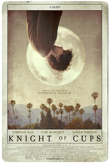 "The poster resembles a tarot card, with a man upside down facing sideways at the top, haloed by the moon. Below him are California palm trees with the Santa Monica Mountains in the background. Above the man is the tagline: ""A Quest"", and below the palm trees are the credits and title."