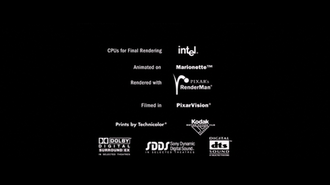 Presto (animation software) - The Marionette credit included with all Pixar films created on the system.