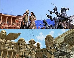 "Magadheera - A scene from the song ""Dheera Dheera"" during the filming stage (above), the same scene in the film after utilisation of CG extension (below)."