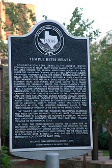 Text of historical marker at site of Temple Beth Israel in Houston.