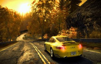 Need for Speed: Most Wanted (2005 video game) - Promotional screenshot of Rockport's fall foliage of Most Wanted for the Xbox 360 with Porsche 911 Turbo S.