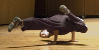 Float (b-boy move) - A stationary float with leg position similar to that of a Nike kick.