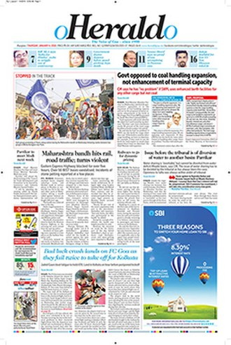 O Heraldo - The Voice of Goa - since 1990