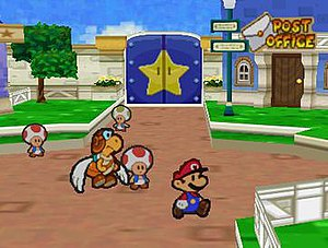 Paper Mario - The game's visuals feature two-dimensional character cut-out designs contained within three-dimensional backgrounds.