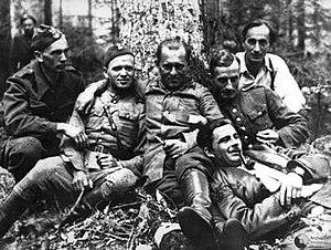 Kedyw - Cichociemny Jan Piwnik (Ponury) and his colleagues from the Kedyw of the Radom-Kielce Home Army area, 1944