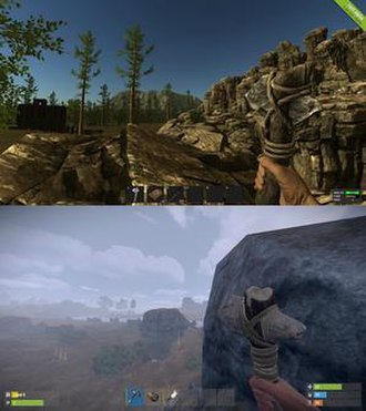 Rust (video game) - A comparison of two different updates of Rust, the top one being earlier than the latter in terms of development. The bottom one also uses an updated game engine.