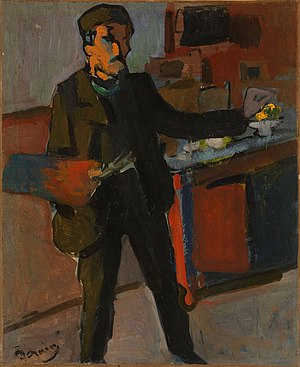 Salon d'Automne - André Derain, 1903, Self-portrait in studio, oil on canvas, 42.2 x 34.6 cm, National Gallery of Australia