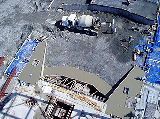 Sitka High School - View from steel girders down onto stage wings and audience chamber of the auditorium under construction (11 May 2006)